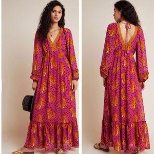 Anthropologie Farm Rio Cheetah Maxi Dress NWT